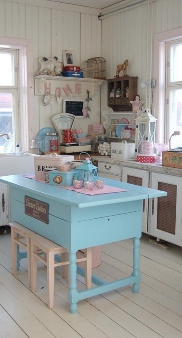 Cheap vintage shabby chic style kitchen design and for Retro kitchen ideas pinterest