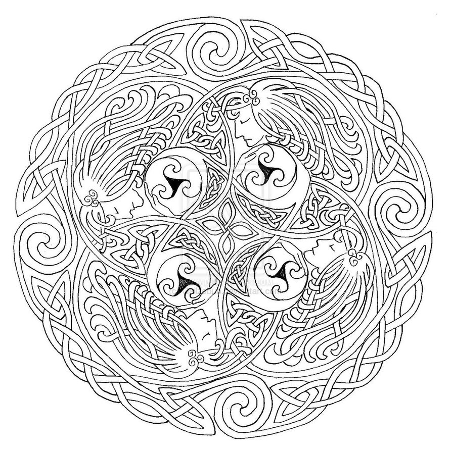 Unique celtic cross mandala coloring pages library free for Celtic coloring page