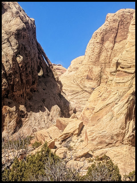 Can you see the 2 arches just left of the V shape in the middle? Double Arch in Spirit Canyon San Rafael Swell Utah