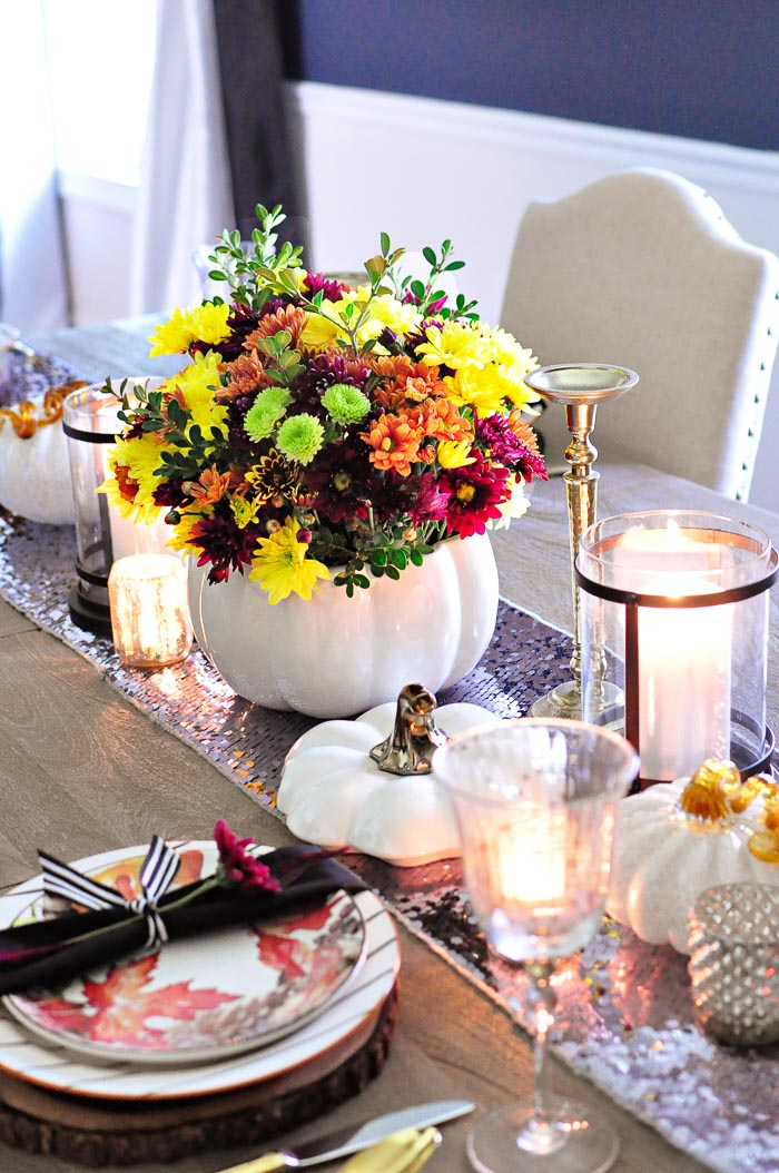 Rustic glam floral (flower) pumpkin tureen centerpiece tablescape. | #FallDIY #centerpieces #tablescapes #tablesettings #tabledecor #monicawantsit