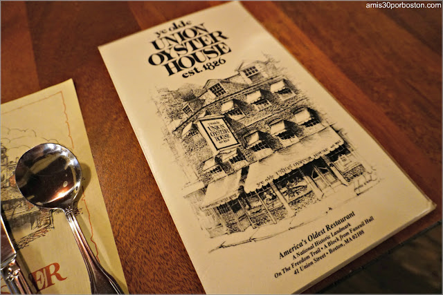 Carta del Union Oyster House en Boston