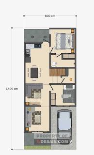 Denah Rumah Minimalis 6x14 Meter 4 Kamar Tidur dan Balkon Depan
