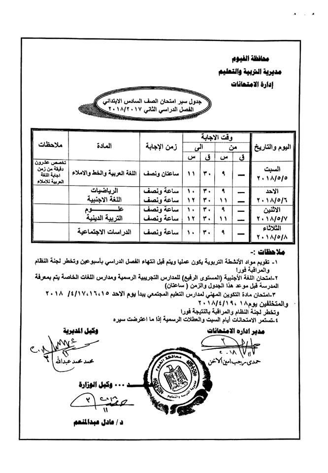 جدول امتحانات الصف الخامس الأبتدائي محافظة الفيوم 2018 الترم الثاني