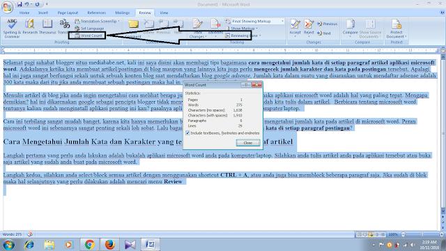 Cara Mengetahui Jumlah Karakter dan Kata Pada Artikel Di Microsoft Word