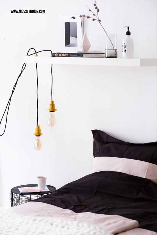 Nachttisch Lampe neben Bett DIY mit Retro Glühbirne