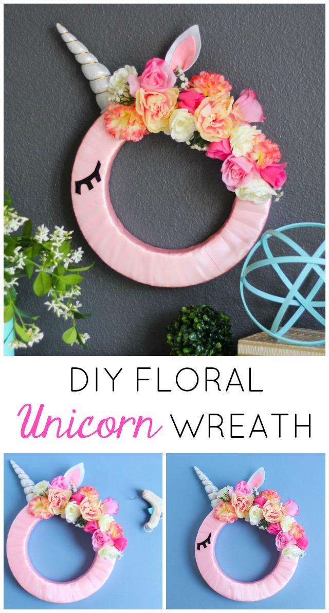 This beautiful floral unicorn wreath is so easy to make! Perfect decor for a girl's bedroom or nursery. #unicornwreath #unicorncraft #unicorndecor