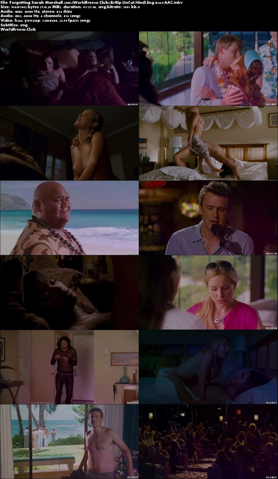 Screen Shoot of Forgetting Sarah Marshall 2008 BRRip 720p Dual Audio Unrated In Hindi English Watch Online Hd
