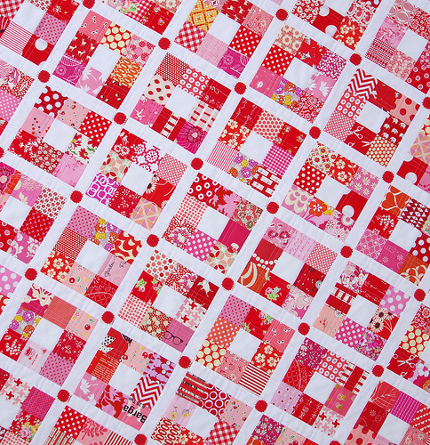 Strawberry Nine Patch Quilt - Red Pepper Quilts