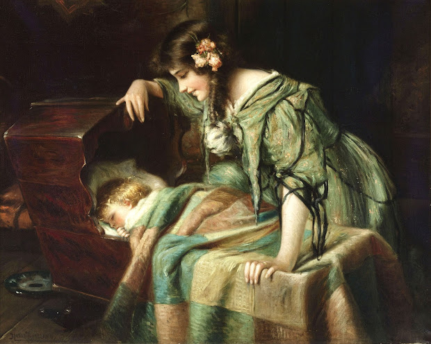 19th Century Painting Child-Mother