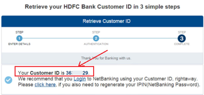 how to find hdfc netbanking customer id online