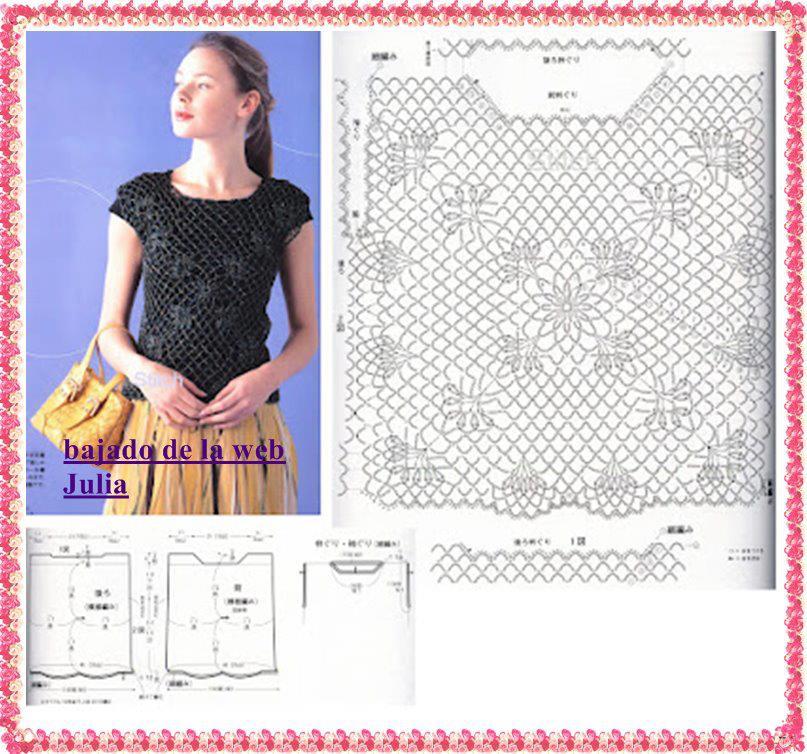 Moderno Blusas Crochet Patrones Libres Modelo - Manta de Tejer ...