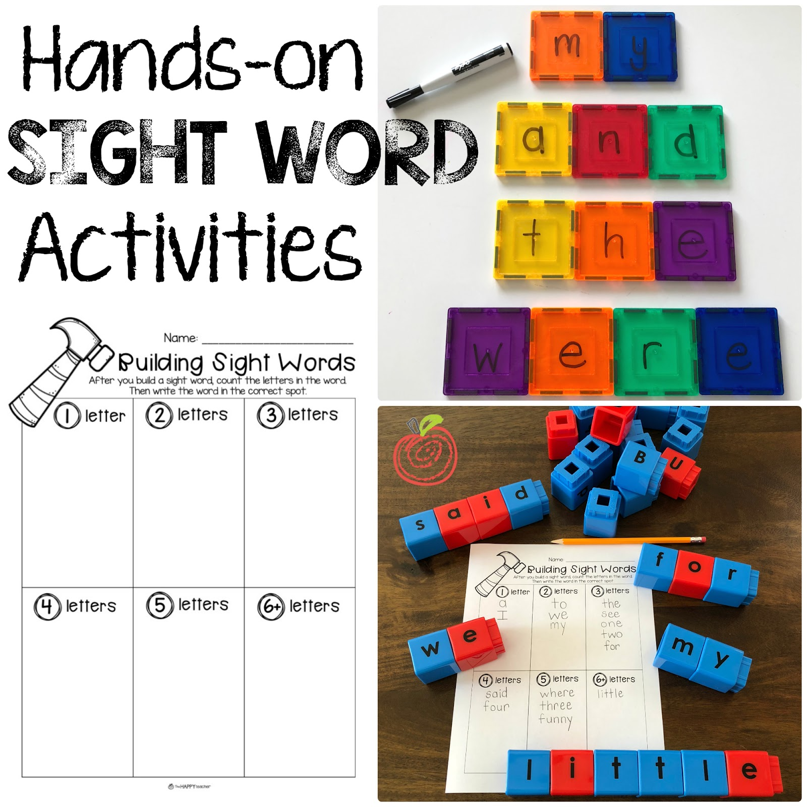 Building Sight Words: Activities and Printables   TheHappyTeacher [ 1600 x 1600 Pixel ]