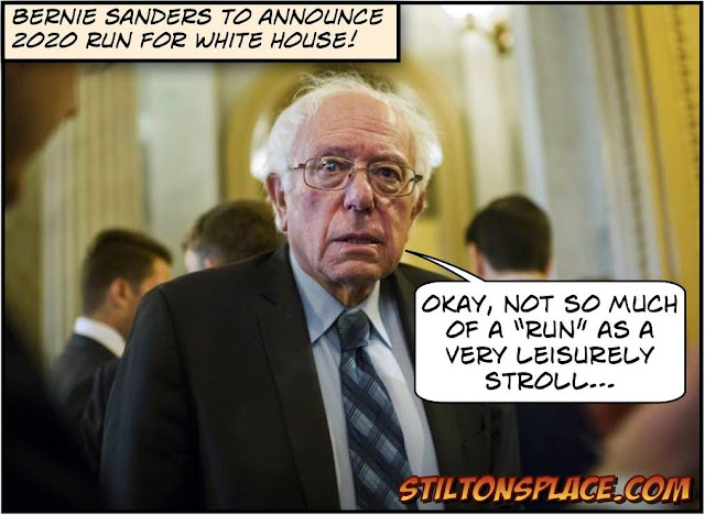 stilton's place, stilton, political, humor, conservative, cartoons, jokes, hope n' change, bernie sanders, 2020, hillary, run