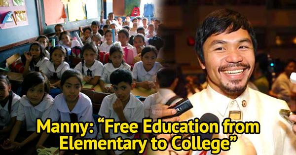 Free Education For Students, Part Of Pacquiao's Bills To Be Filed In Senate! Must Read!