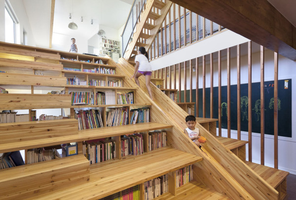 Riding slide is one of the best activities of children. So instead of going outside why don't you try this coolest staircase with creative slide next to the staircase for your house? Check these 40 photos for more ideas and design.