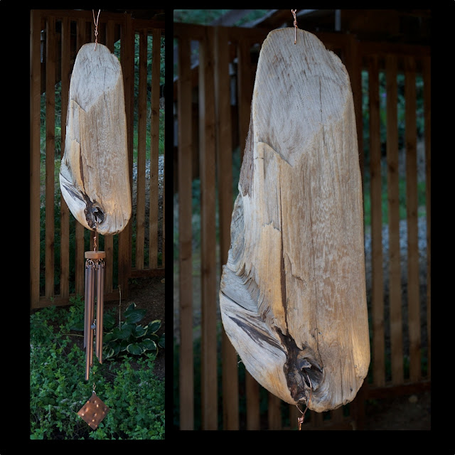 Natural Pacific Driftwood Wind Chime with Five Copper Chime by Coast Chimes