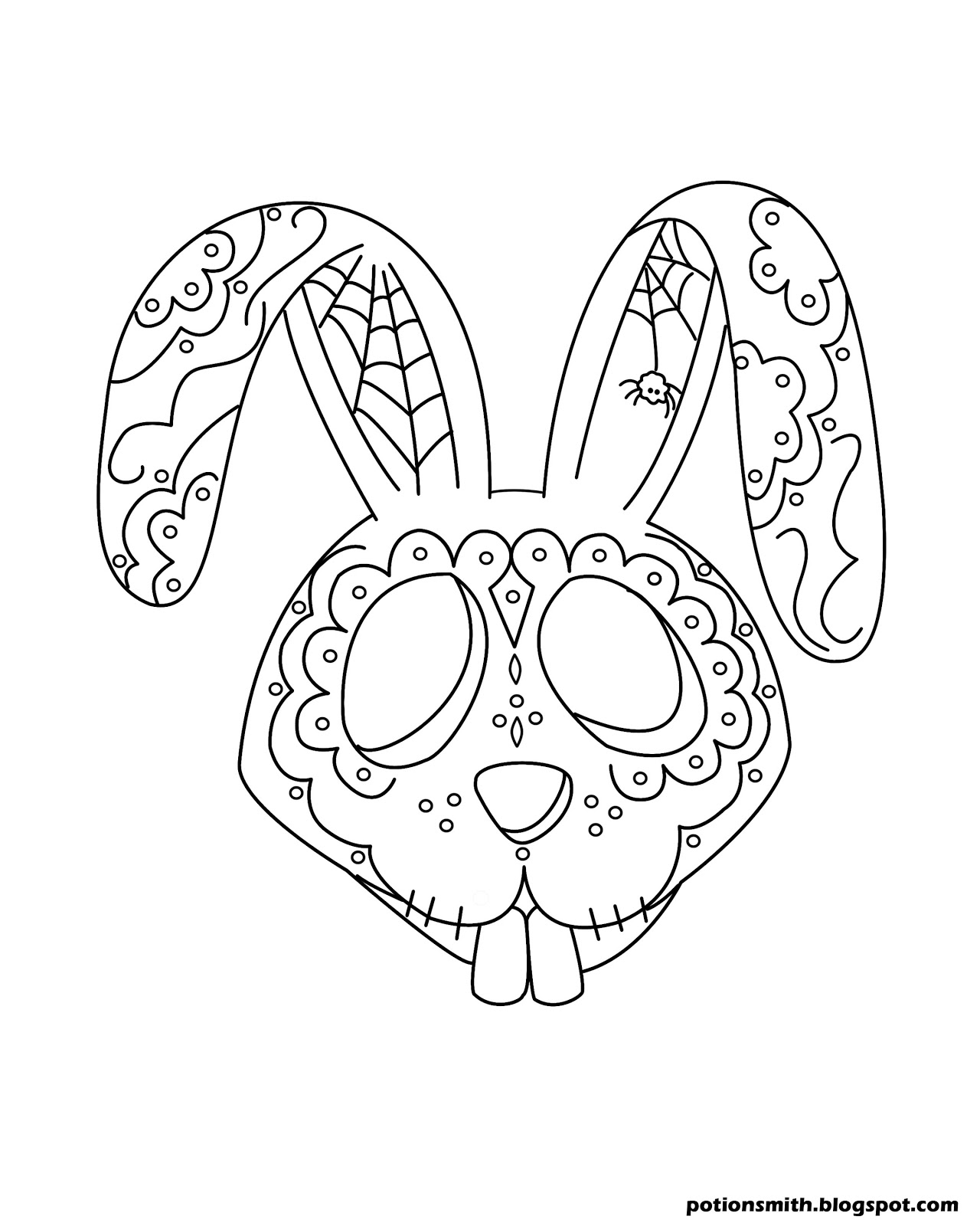 sugar skull coloring page - potionsmith sugar skull bunnies