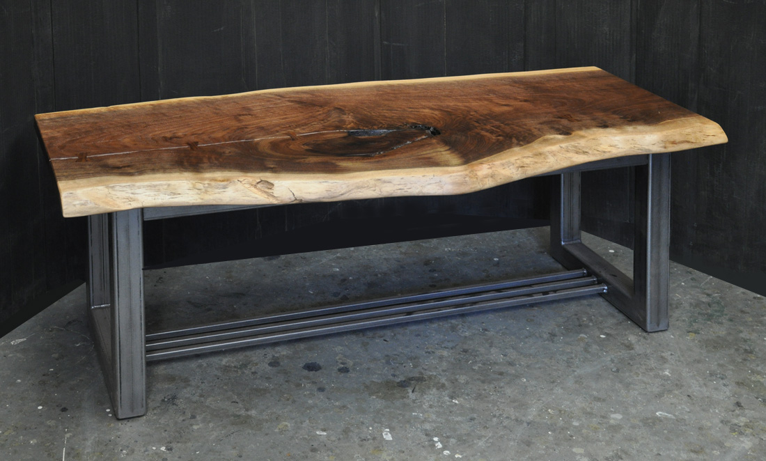 A Small Claro Walnut Slab Coffee Table