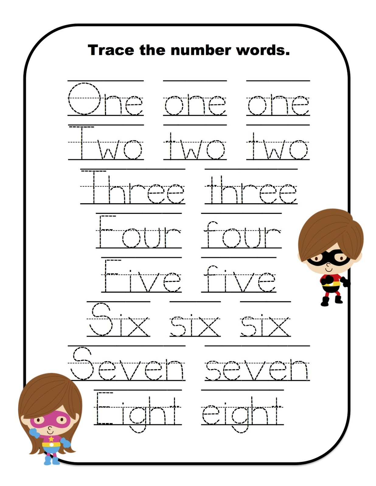 Super Heroes Learn Numbers Preschool Printables