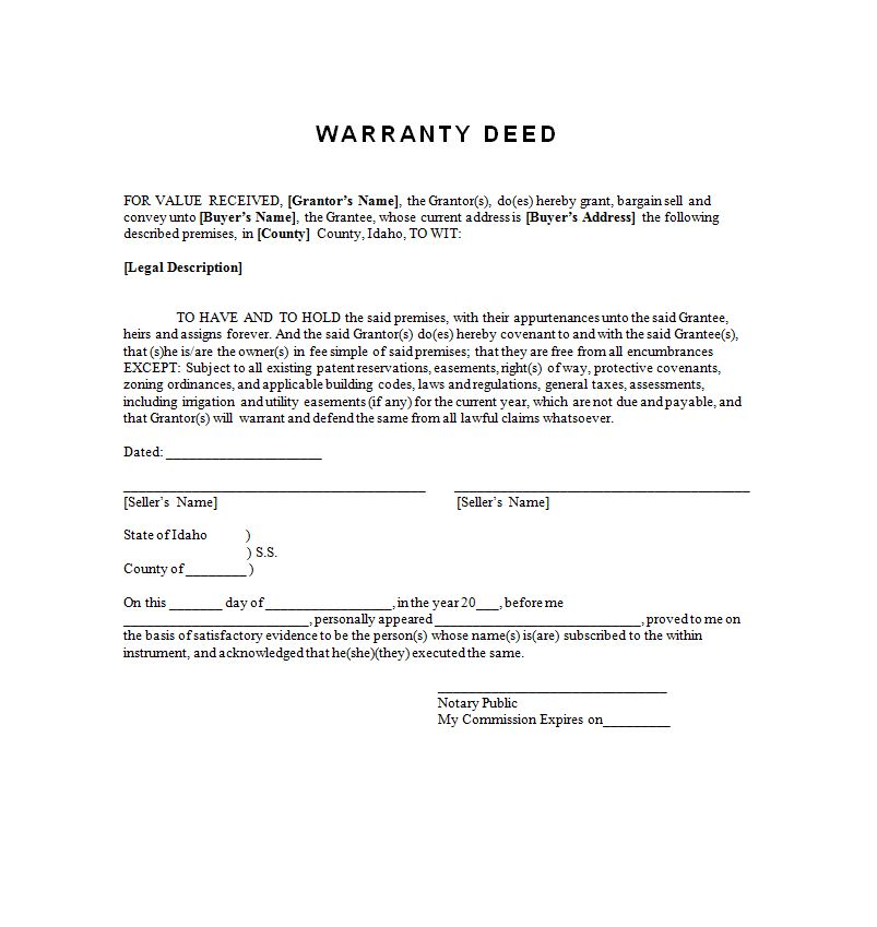 Example warranty deed free to print sample contracts contract example warranty deed free to print thecheapjerseys Choice Image