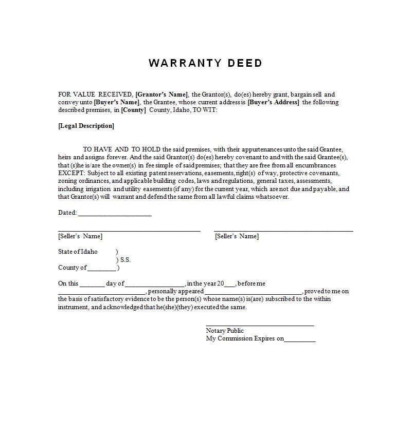 Example warranty deed free to print sample contracts contract example warranty deed free to print altavistaventures Choice Image