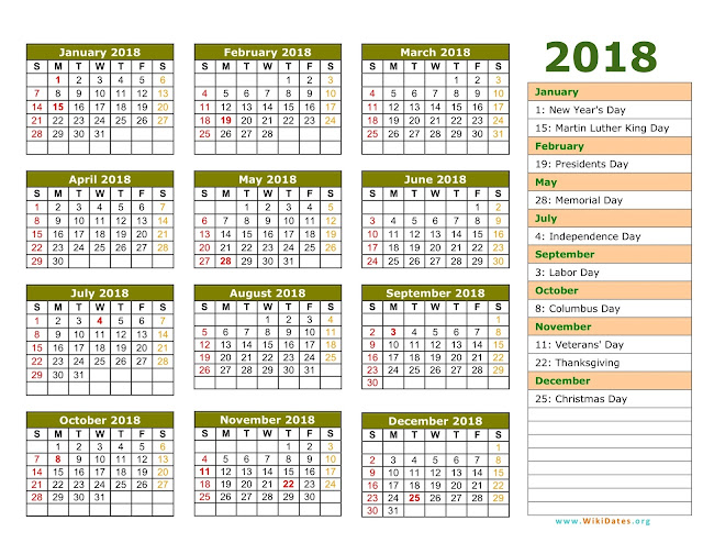 Calendar 2018 with UAE Holidays