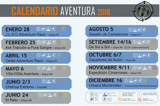 Calendario 2018 de carreras de aventura en Uruguay