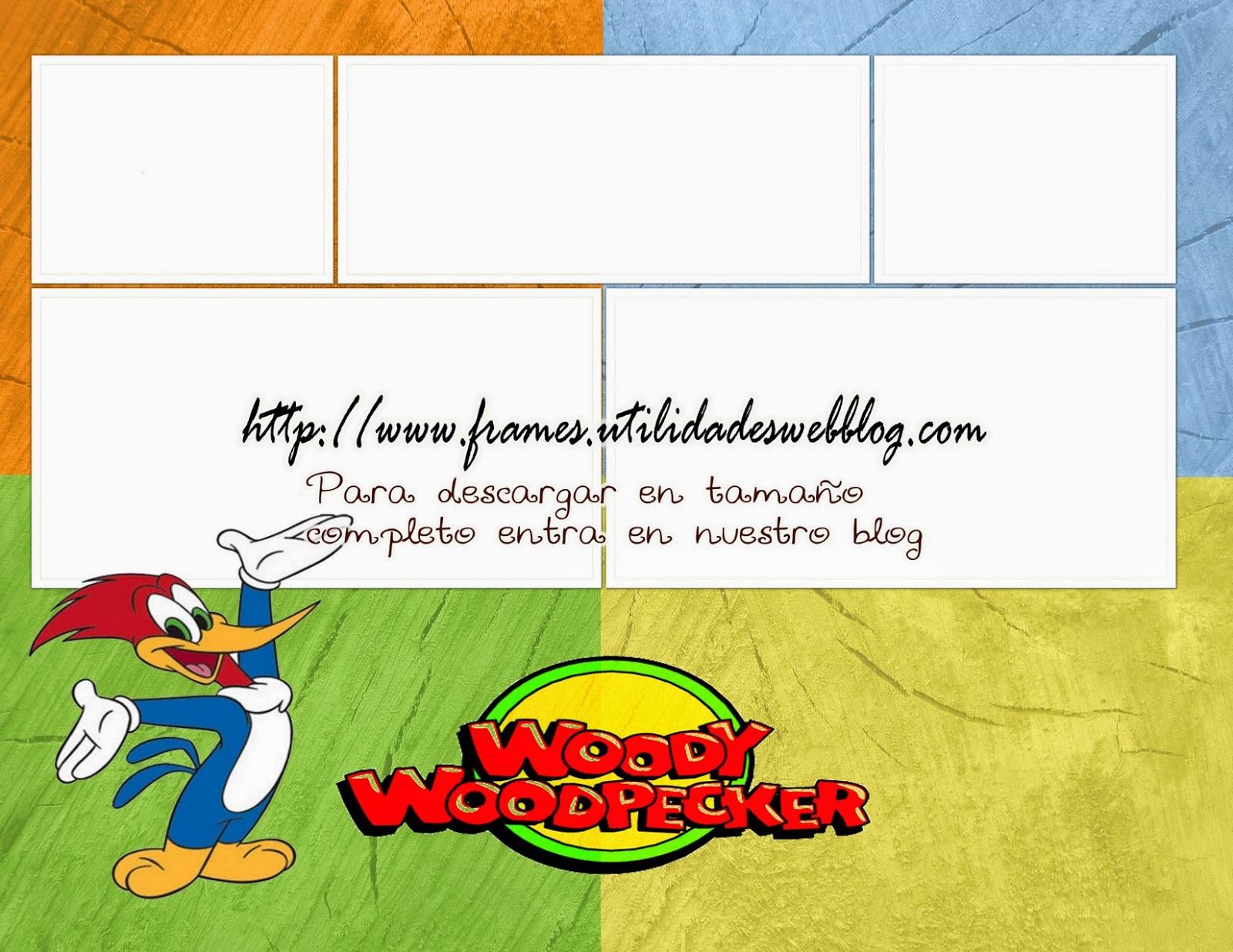 Colorido y alegre marco para 5 fotos inspirado en el Pájaro Loco