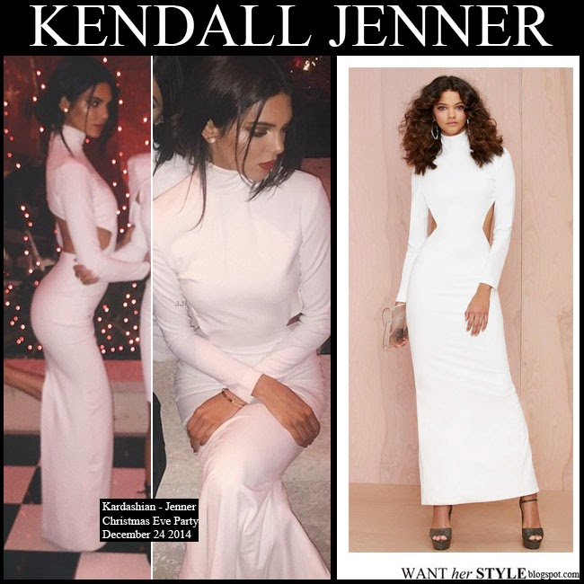 4154d375fcd6 Kendall Jenner in white long sleeve maxi dress with cutout sides Bougie Solace  London want her