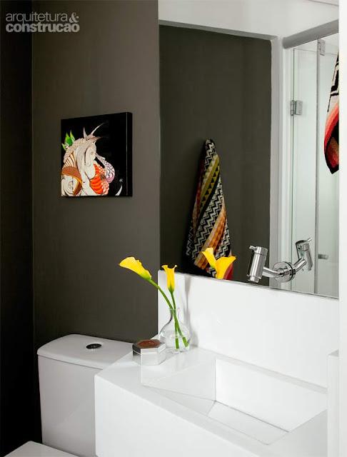 Detalhes de um quarto pequeno!  Jeito de Casa  Blog de Decoração -> Banheiro Pequeno Cinza