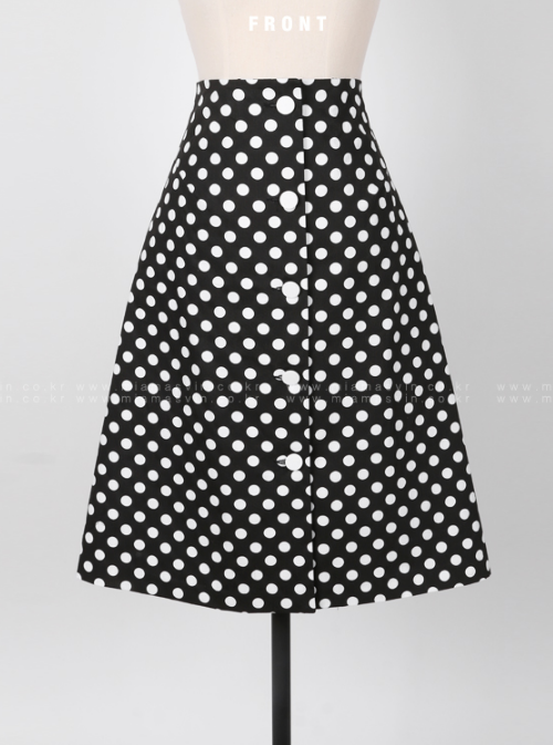 Polka Dot Button-Front A-Line Midi Skirt