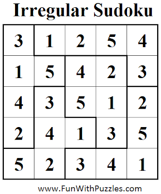 Irregular Sudoku (Mini Sudoku Series #23) Solution