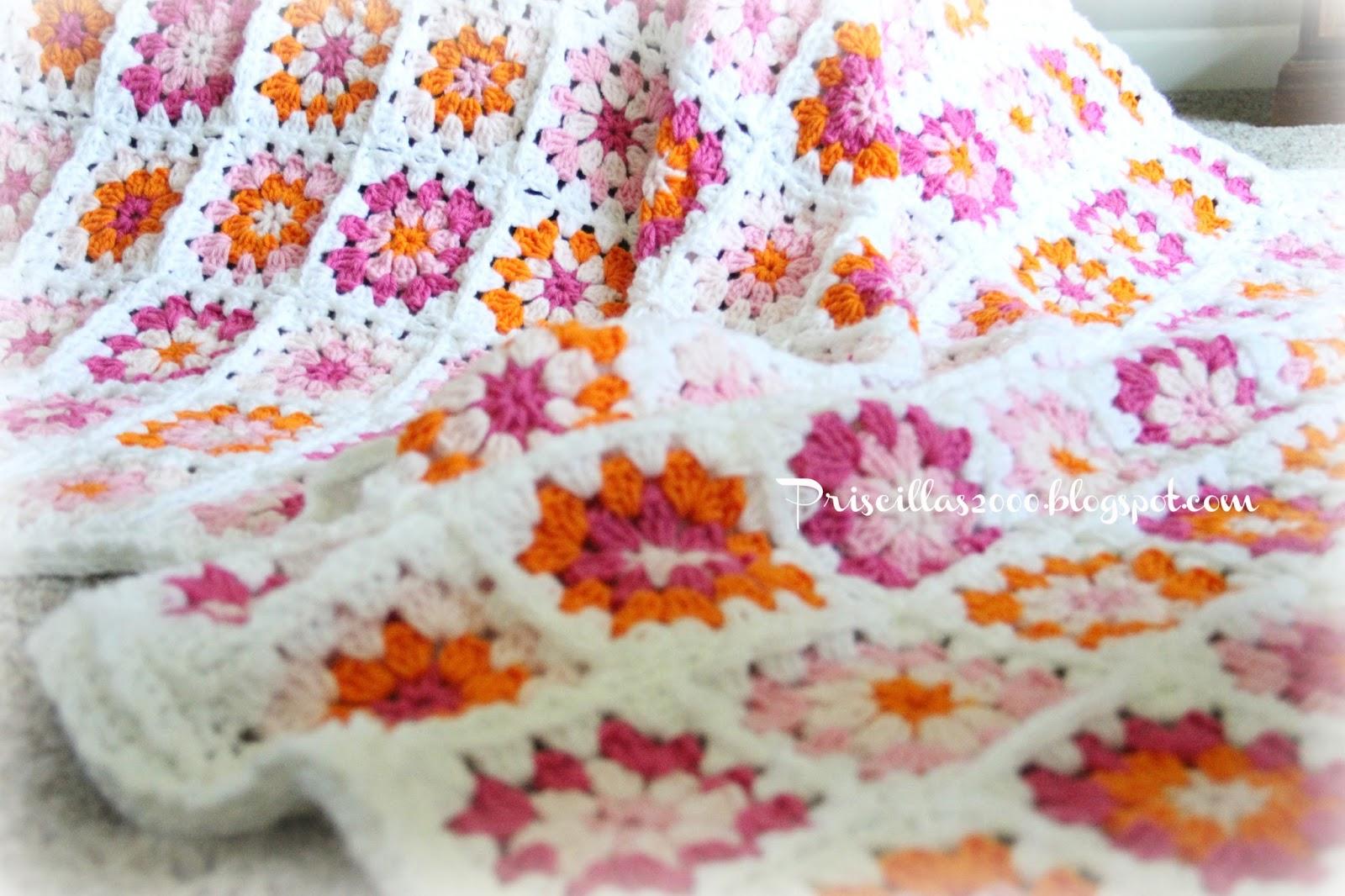 Priscillas: Pinks and Orange Granny Square Blanket