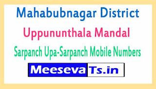 Uppununthala Mandal Sarpanch Upa-Sarpanch Mobile Numbers List Mahabubnagar District in Telangana State