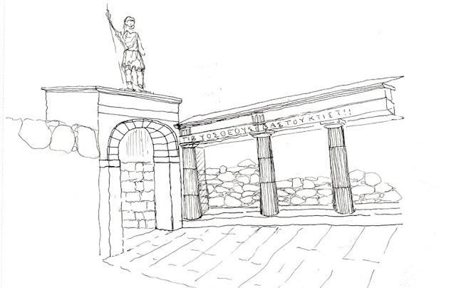 Representación artística del aspecto de la Puerta de Tiberio.