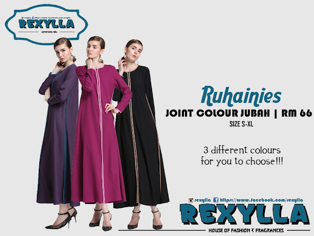 rexylla, joint colour jubah, stripe jubah, ruhainies collection