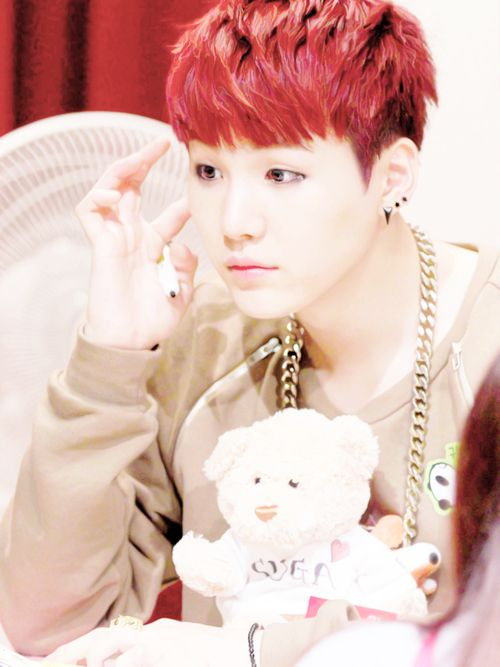Adorable and cute suga's red hair