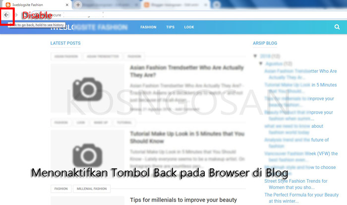matikan tombol back blog