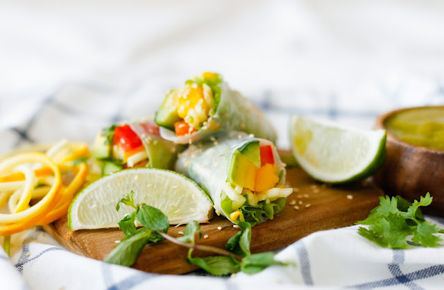 Summer Rice Paper Rolls with Mango Coriander Dip