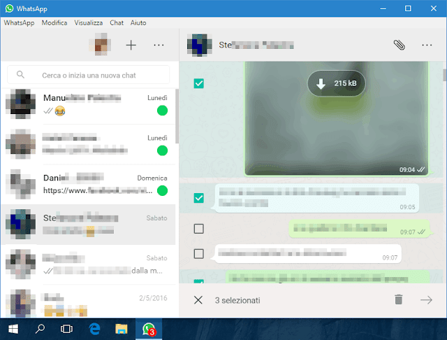 Interfaccia WhatsApp Desktop per Windows