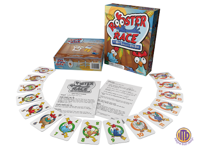 Rooster Race Game layed out in a fan shape designed and illustrated by Imagine That! Design