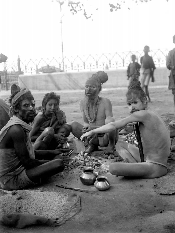 Photographs of Ascetics or sadhus in Calcutta (Kolkata), Possibly Pilgrims to a Festival (Gangasagar Mela?) - c1912-14