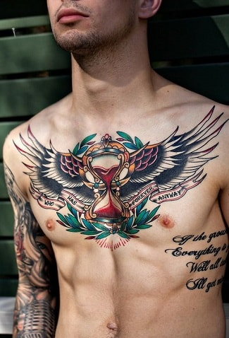 chest tattoos with wings