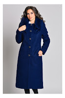 Palton elegant bleumarin lung cu blanita la guler