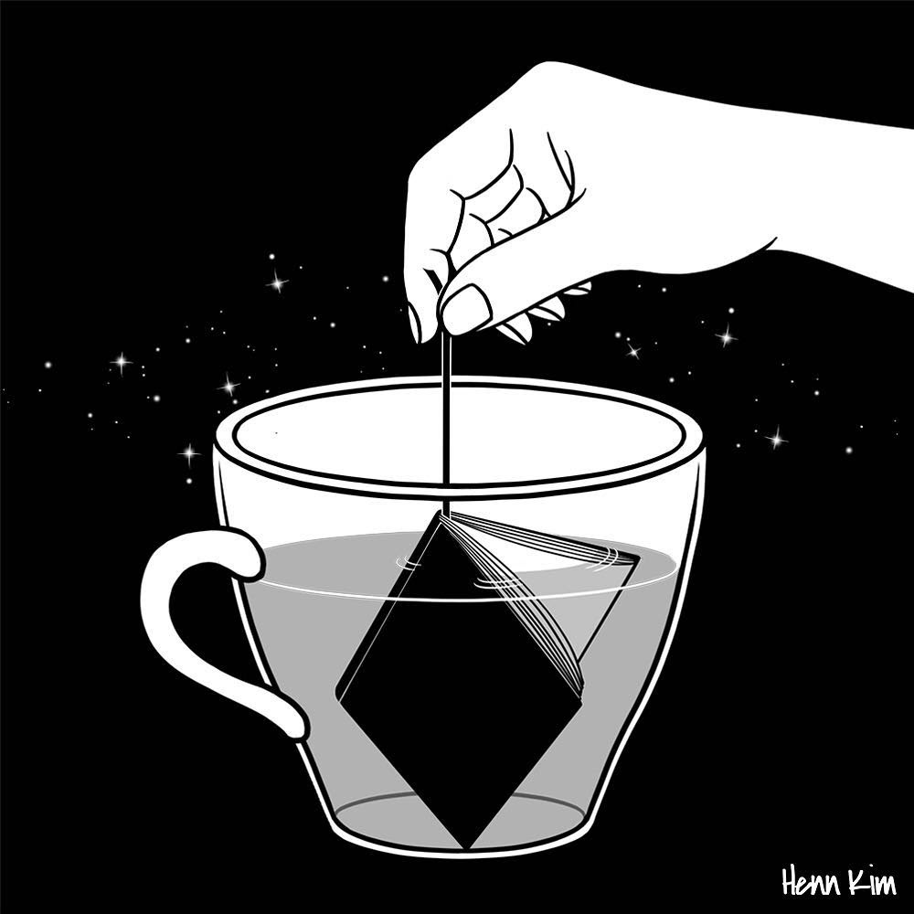 07-A-cup-of-book-Henn-Kim-Surrealism-Black-and-White-Symbolic-Illustrations-www-designstack-co