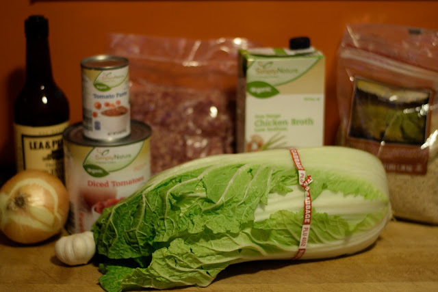 The ingredients needed to make the Simple Cabbage Soup Recipe