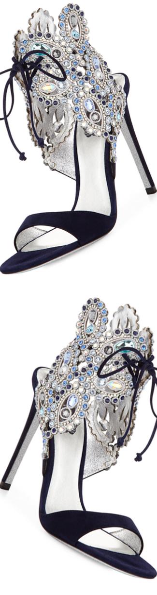 Rene Caovilla Crystal Ankle-Tie Evening Sandal