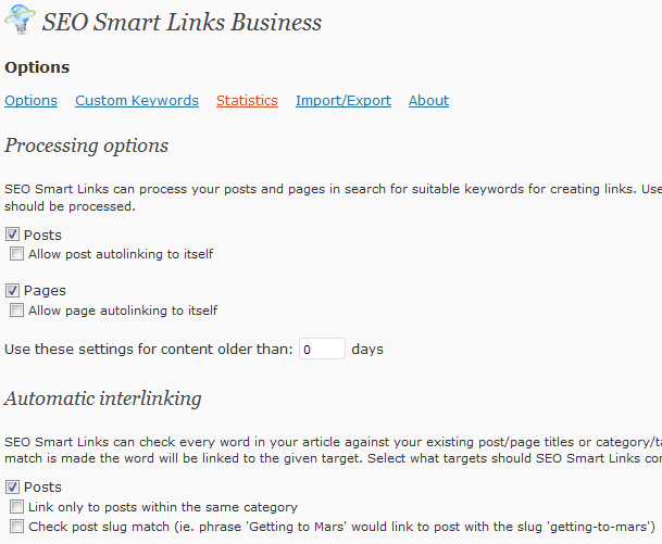 SEO Smart Links PRO Blog Content interlinking WordPress Plugin