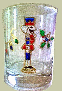 hand painted old fashion or scotch glass in Nutcracker theme