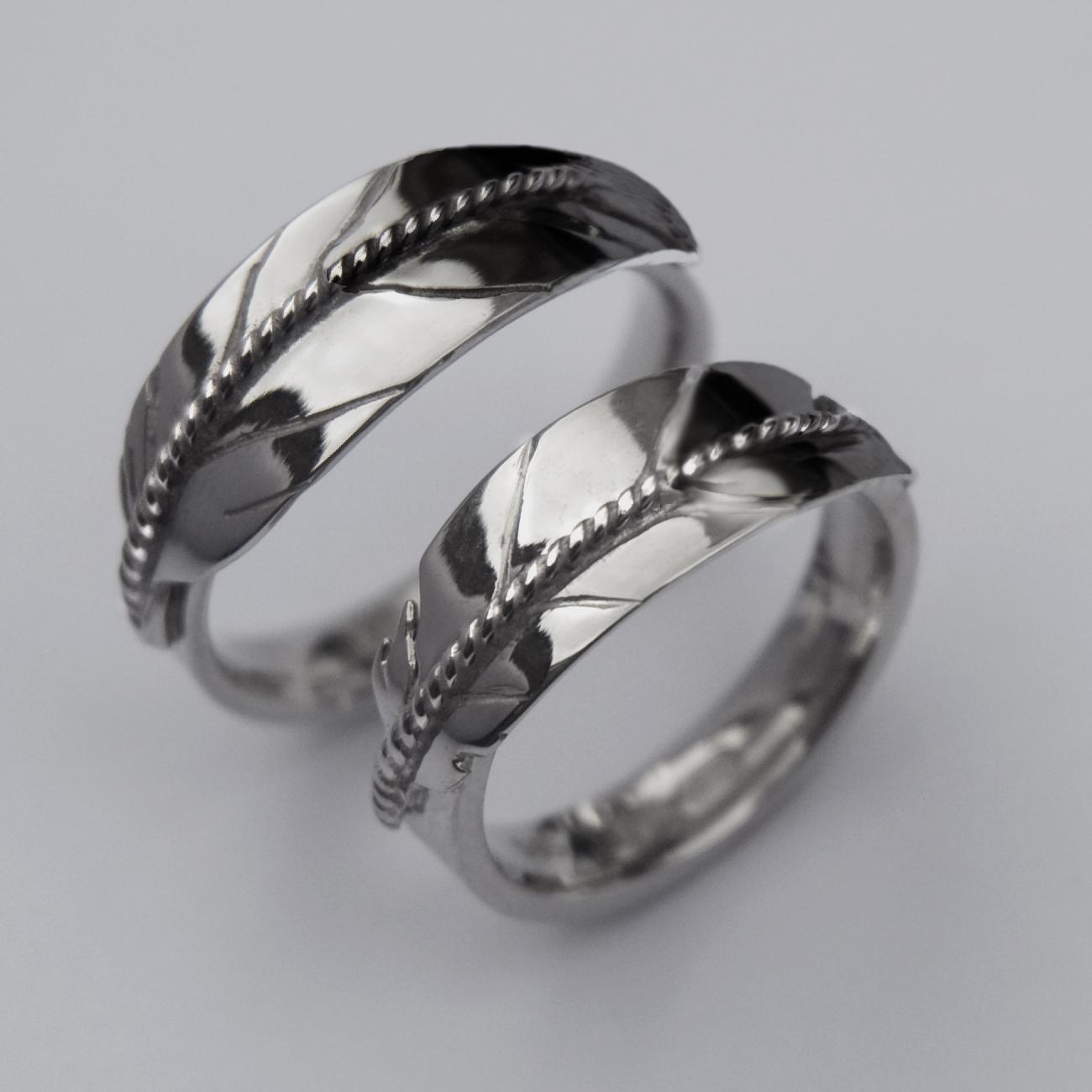 Ojibwe Style Silver Wedding Rings Gallery 2